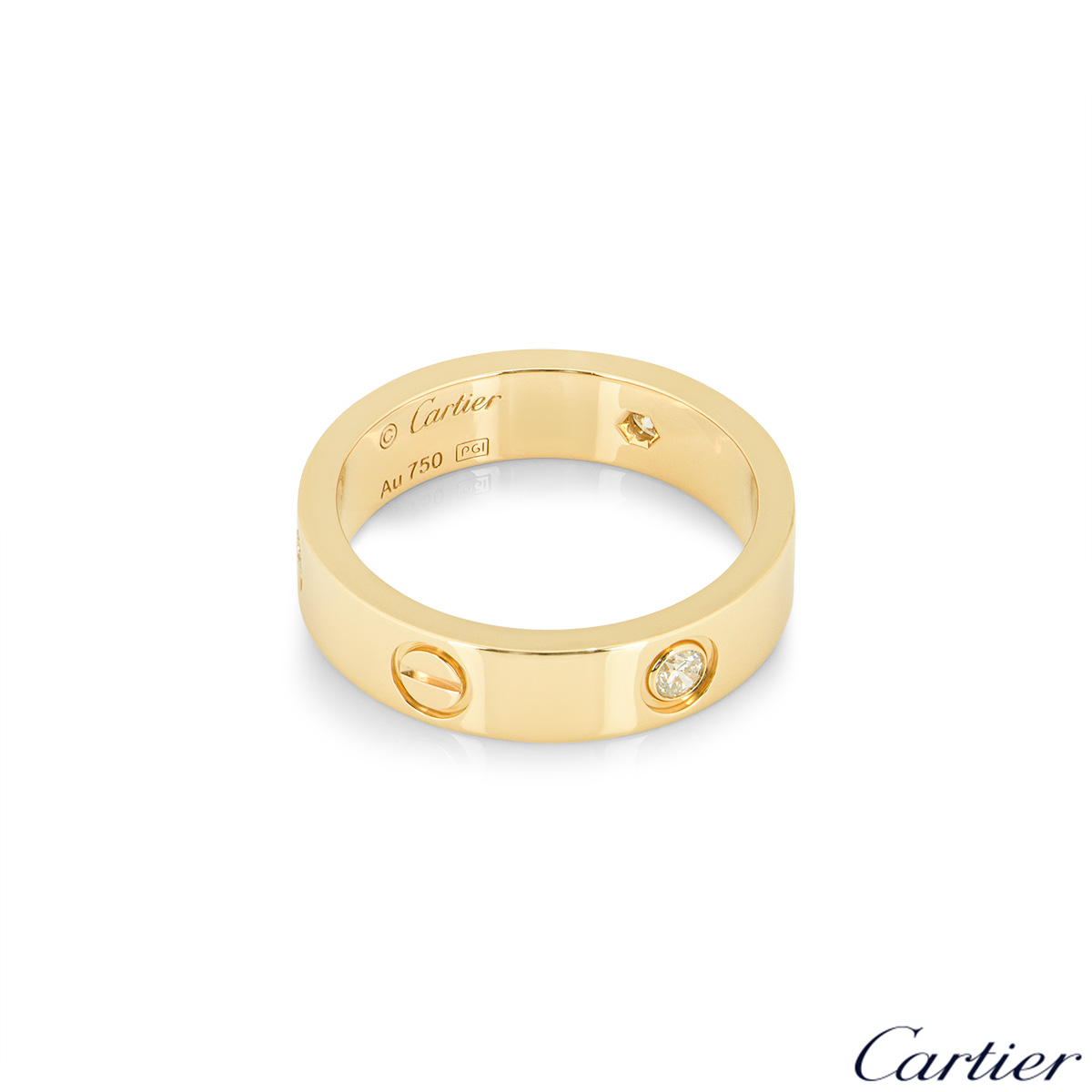 Cartier Yellow Gold Half Diamond Love Ring Size 52 B4032400